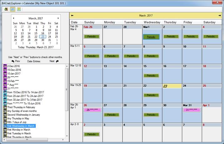 Calendar general view