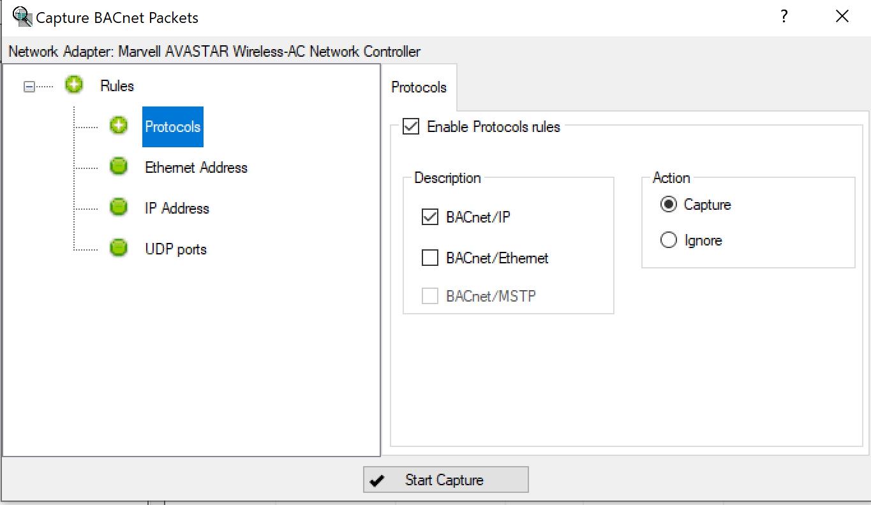 Capture filters BACnet Explorer